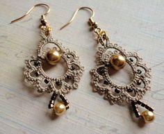 """Giddy"" tatted earrings by yarnplayer, via Flickr"