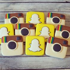 """""""Cookie favors for a 13th birthday...Instagram and Snapchat logos! #decoratedcookies #cookies #customcookies"""" Photo taken by @sweetlibbycookies on Instagram, pinned via the InstaPin iOS App! http://www.instapinapp.com (07/11/2015)"""
