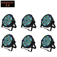 Cheap Price 6XLot Hot Selling Led Par Stage DJ Lights 54pcs 1W RGBW Home Party Disco Strobe DMX512 Flat professional Lighting #Affiliate