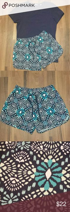{Columbia} Athletic Shorts Turquoise, aqua & white print on a navy background. Perfect  condition, no signs of wear. Cute drawstring.  100% Polyester  Offers Welcome! Columbia Shorts