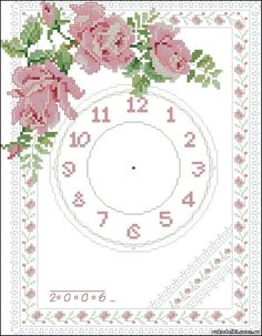 Embroidery Art, Cross Stitch Embroidery, Cross Stitch Patterns, Cross Stitch Heart, Cross Stitch Flowers, Rose Clock, Needlepoint Patterns, Love Rose, Crochet Animals