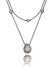 colar de luxo com corrente tiffany banho de rodio negro e gotinha com zirconia quartzo rosa semijoias finas