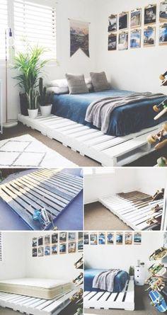 unglaublich DIY Bett Ideen, um Ihr Schlafzimmer fabelhaft zu machen - Entwurf increíbles ideas de cama DIY para hacer que tu habitación sea fabulosa Diy Bett, Diy Bed Frame, Bed Frames, Easy Frame, Trendy Bedroom, Bedroom Modern, Betta, Diy Furniture, Bedroom Furniture