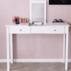 Kaila Vanity With Mirror In 2020 With Images Modern Vanity Table Desk Mirror Vanity Table