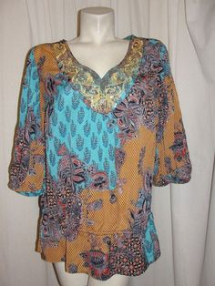 Lane Bryant Top Blue Mustard Rust Sequin Embroidery V-neck Blouse Tunic Sz 14/16 #LaneBryant #Blouse #Casual