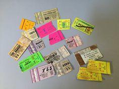 VINTAGE CONCERT TICKETS, Vintage paper ephemera, torn concert tickets, craft supplies, vintage craft supply, torn paper supply, ticket stubs