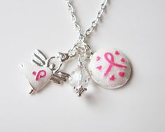 Pink Ribbon necklace, by romanticcrafts, $19.00