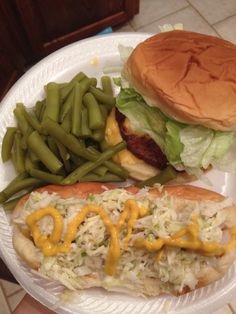 Off the grill- classic cheeseburgers and hotdogs with fresh green beens