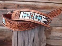 Beaded Belt inset into leather by Deesbeadeddogcollars on Etsy, $180.00