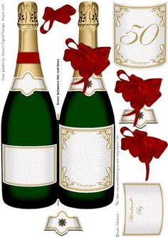 Double Champagne bottle 50 on Craftsuprint designed by Karin Johansson - A card shaped as a champagne bottle with a few layers.2 extra labels if you like already made labels and one for the neck on the back of the card.There is a co-ordinated insert cup290554_131 - Now available for download!
