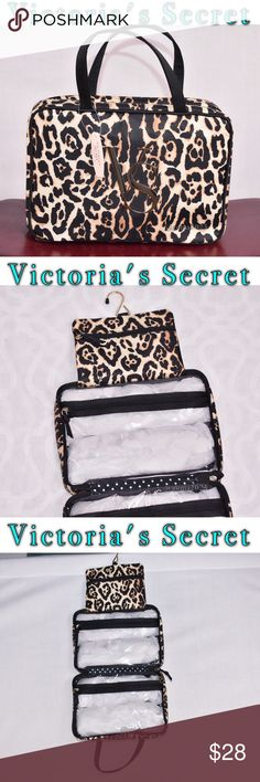 """Victoria's Secret makeup travel case New Ready for a getaway, this soft travel case is easy to clean and carries all your beauty secrets in VS style. Perfect for lotions, mists, makeup and other beauty essentials Zip pockets Imported PVC 10½""""L x 3¼""""W x 7¼""""H Victoria's Secret Bags Cosmetic Bags & Cases"""