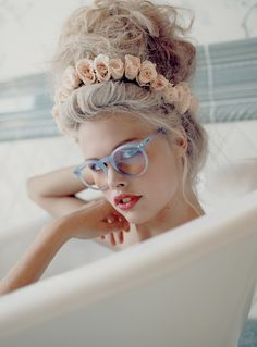 Wildfox's modern-day Marie Antoinette again: platinum hair is striking, but still classic and feminine with soft texture and a peach flower crown.