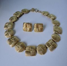 Vintage Ann Klein Gold tone Choker Necklace and Earrings Set.