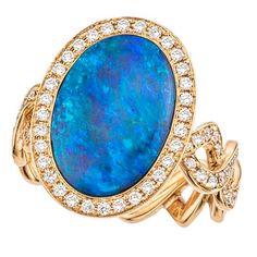 Opal Diamond Gold Twisting Vine Ring