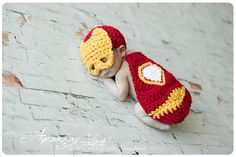 Newborn Little Iron man Baby Cover Cape and Hat by Babyinthehat