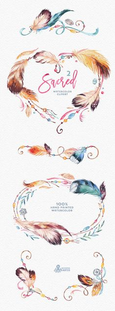 Sacred 2. Watercolor Clipart. Wreath heart borders corners