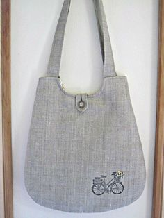 Linen Essential Purse Tote Bag Retro Bicycle by Antiquebasketlady, $36.00