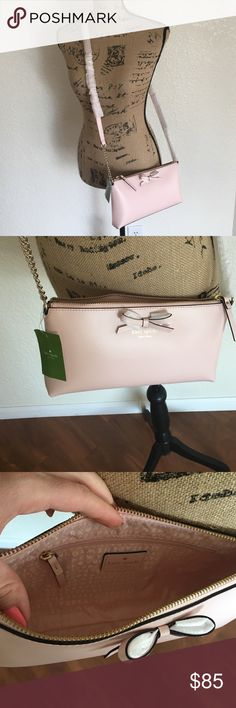 "Kate Spade cross body. New with tag Beautiful delicate color Kate Spade bag. New. Never used. Size:10.3""➡️ ,  5""⬇️️ . ""Declan"" purse. Material: Leather. 14 carat gold plated hardware. kate spade Bags Crossbody Bags"