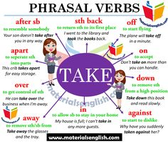 Phrasal Verbs With TAKE in English – Materials For Learning English English Prepositions, English Verbs, Learn English Grammar, English Writing Skills, English Vocabulary Words, Learn English Words, English Phrases, English Lessons, English English