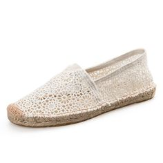 Tendance Chaussures 2017/ 2018 : 2017 Handmade Hollow Lace Espadrilles Shoes Women Casual Flats Shoes Breathable
