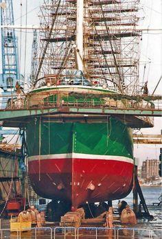 "Hamburg's three-masted barque ""Rickmer Rickmers"" in dock."