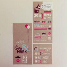 trouwuitnodiging voor Eva & Mark
