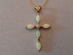 "Estate genuine opal & diamond cross pendant 10K yellow gold 20"" chain #CrossPendant"