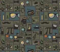 All Things Geek fabric by littlerhodydesign Nice masculine palette. Nicely designed.