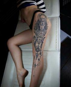 Lion & Deer Leg Tattoo - Tattoo - Tattoo Designs For Women Tigh Tattoo, Mädchen Tattoo, Tatoo Henna, Deer Tattoo, Tattoo Tree, Totem Tattoo, Hand Tattoos, Full Leg Tattoos, Leg Tattoos Women