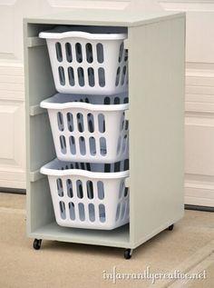 Rolling laundry bin