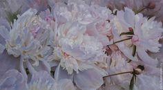 """Купить картина маслом """"Музыка цветов"""" - цветы, белый, розовый, нежный, авторская работа, пионы"""