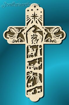 Scroll Saw Patterns :: Religious & Inspirational :: Themed picture crosses :: Nativity cross Christmas Bible, Christmas Wood, Christmas Crafts, Christmas Nativity, Scroll Saw Patterns Free, Wood Patterns, Kirigami, Outdoor Nativity, Christmas Templates