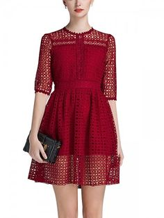 Burgundy Lace Lined Swing Mini Dress Lace Kimono Outfit, Lace Midi Dress, Cute Casual Dresses, Short Dresses, Women's Dresses, Beige Lace Dresses, Lace Swimsuit, Evening Dresses Online, Glamour
