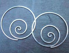 Sterling silver handhammered spiral hoop by ARTdesignsbyannart, $40.00