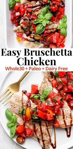 A light and delicious dinner option that your entire family will love! This Easy to make dinner is Whole30, Paleo, Dairy Free, Gluten Free. Need a good use for all of those tomatoes you are picking out of your garden? I have the answer for you – this Bruschetta Chicken is easy, delicious and so light and refreshing. It makes amazing leftovers – I can't wait for you to make it! #BruschettaChicken #HealthyFreshDinner #TheWoodenSkillet Yummy Chicken Recipes, Meat Recipes, Paleo Recipes, Real Food Recipes, Skillet Recipes, Yummy Recipes, Free Recipes, Easy To Make Dinners, Easy Family Meals