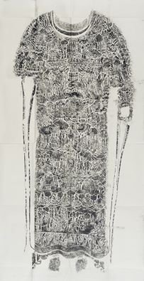 According to the Lotus Sutra, when the Buddha delivered a sermon a vision of the entire cosmos appeared before him, which is why he was sometimes called the Cosmological Buddha. The decoration on the front and back of this figure's monastic robe features scenes of the life of the historical Buddha and cosmic imagery. Buddha torso engraved with the Realms of Existence 550-618; rubbing; 20th century