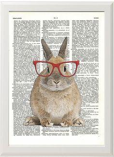 Kaninchen Grafik, Kaninchen-Poster, Bunny Print, Bunny-Kunst, Geekery, Wand-Dekor-Poster-Wohnheim Zimmer Print, Wörterbuch Print, tierischen Kunstdruck von PigAndGin auf Etsy https://www.etsy.com/de/listing/167404700/kaninchen-grafik-kaninchen-poster-bunny