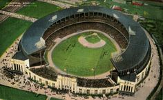 Postcard showing an elevated view of Cleveland Municipal Stadium in Cleveland, Ohio, postmarked 1940. Built in 1931, the stadium was used by both the Cleveland Indians  and the Cleveland Browns.