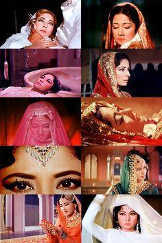 #Pakeezah #Meena Kumari   Bollywood. Vintage Bollywood, Indian Bollywood, Bollywood Stars, Beautiful Bollywood Actress, Beautiful Actresses, Beautiful Heroine, Bollywood Makeup, Indian Star, Desi Clothes