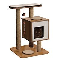 A stunning piece of scratching furniture for cats, Vesper Cat Condo V-Tower, Walnut provides an enticing multi-level world for curious cats. Large scratching mats ensure hours of scratc Vesper Cat Furniture, Pet Furniture, Why Do Cats Purr, Litter Box Enclosure, Cat Shelves, Hamster, Cat Condo, Wal, Cat Supplies