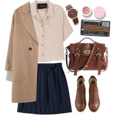 blue skirt + nude shirt + camel coat, booties and bag