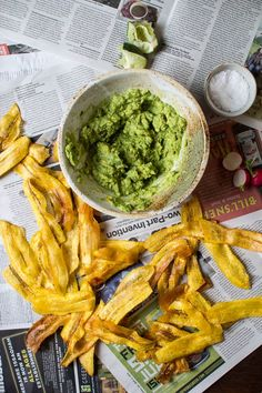 Plantain Chips and Guacamole.