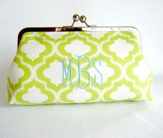 monogrammed clutch for the bridesmaids- love the quatrafoil print