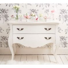Provencal 2-Drawer White Chest - French Bedroom Storage Chest - Shabby chic French chest