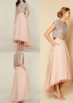 Two-Piece Dresses For Party Nights - Take A Look A-touch Of Shimmer Indian Gowns Dresses, Satin Dresses, Nice Dresses, Two Piece Dress, The Dress, Two Piece Bridesmaid Dresses, Engagement Dresses, Indian Wedding Outfits, Urban Dresses