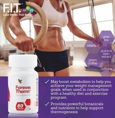 Learn the basics of fitness with customized body-weight workouts, fundamental movements and basic cardio. Forever Therm is a powerful, supportive to help boost your energy levels and kick-start metabolism, helping you on your weight-loss journey! Forever Living Aloe Vera, Forever Aloe, Weight Loss Goals, Weight Loss Journey, Clean9, Forever Living Business, Chocolate Slim, Thyroid Issues, Detox Program
