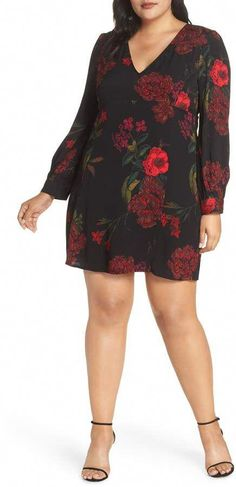 76dc8bdaf0b Leith V-Neck Floral Print Minidress  womensfashionwinterplussize Ladies Plus  Size Dresses