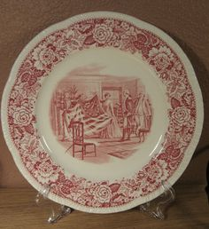 Vintage Betsy Ross Plate Homer Laughlin China US Made Pink Flag 9 inch 1777   eBay