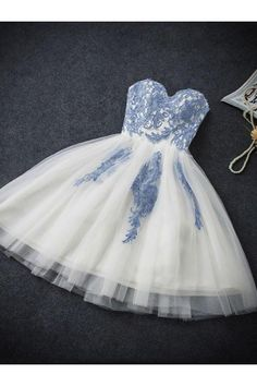 Princess Homecoming Dresses, White Homecoming Dresses, Short Prom Dresses With Applique Sleeveless Sweetheart WF02G49-166