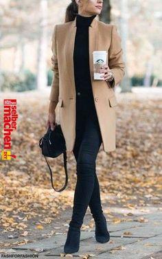 Tenue  Manteau marron clair, Pull à col roulé noir, Jean skinny noir,  Bottines en daim noires - pim312 Tenue  Manteau marron clair, Pull à col  roulé noir, ... cb3c6e8236d9